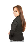 Asian Businesswoman Looking Over Shoulder Half V Royalty Free Stock Images