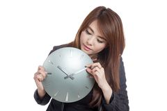 Asian Businesswoman move a clock hand Royalty Free Stock Photography
