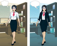 Asian Businesswoman in office interior. Beautiful businesswoman of Asian ethnicity in office interior scene with detailed background vector  illustrations Royalty Free Stock Photos