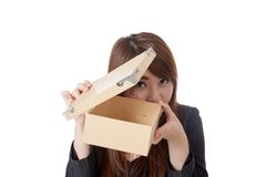 Asian Businesswoman open box carefully open box carefully Stock Images