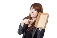 Asian Businesswoman point to empty box Royalty Free Stock Images