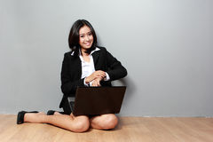 Asian businesswoman portrait with laptop Stock Image