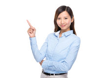 Asian businesswoman present finger up isolated Royalty Free Stock Photography