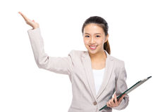 Asian businesswoman present Stock Images