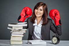 Asian businesswoman ready to fight Stock Photo