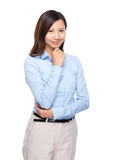 Asian businesswoman rest chin on hand Royalty Free Stock Photo