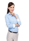 Asian businesswoman rest chin on hand Stock Photos