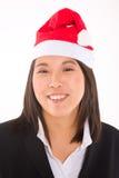 Asian businesswoman with santa hat Stock Photos