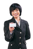 Asian businesswoman shoving white card Stock Images