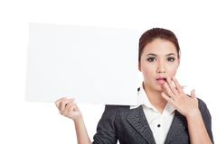 Asian businesswoman show a blank sign and surprise Royalty Free Stock Image