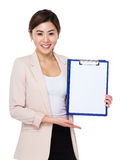 Asian Businesswoman show with clipboard. Isolated on white background Stock Image
