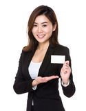 Asian businesswoman show with name card Stock Photos