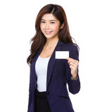Asian businesswoman show with name card Stock Image