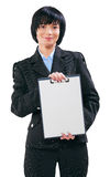 Asian businesswoman showing clipboard with blanc white sheet iso Stock Photos