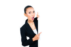 Asian businesswoman showing empty white board Stock Image