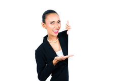Asian businesswoman showing empty white board Stock Photos