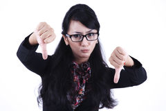 Asian Businesswoman showing Thumbs down Stock Photos