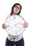 Asian Businesswoman Showing Time on Clock royalty free stock images