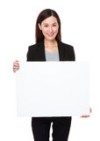 Asian businesswoman showing with white banner Royalty Free Stock Photos