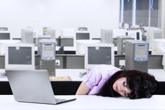 Asian businesswoman sleeping at office Royalty Free Stock Photography