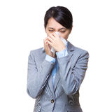 Asian businesswoman sneeze Stock Images