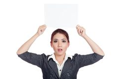 Asian businesswoman surprise show a blank sign ove Stock Photos