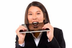 Asian businesswoman with tablet Royalty Free Stock Photos