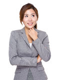 Asian businesswoman think of idea Royalty Free Stock Images