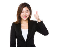 Asian businesswoman with thumb up Stock Image