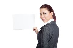 Asian businesswoman turn back show a blank sign Stock Photos
