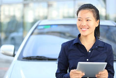 Asian businesswoman use digital tablet Stock Image