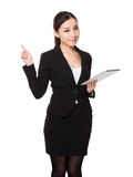 Asian businesswoman use of the tablet pc and finger point up Royalty Free Stock Photography