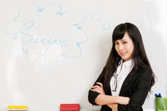 Asian businesswoman at whiteboard Royalty Free Stock Photos