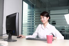 Asian Businesswoman Working With Computer In Offi Stock Photo