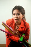 Busy business woman with a lot of colorful  papers ,isolated on background. Stock Photography