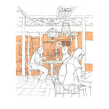 Asian cafe sketch. Sketch of people dining in asian cafe vector illustration