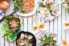Asian Cafe Street Seafood Table Dish Sea Stock Image