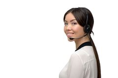 Asian call center female operator with headphones Stock Photo