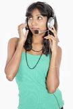 Asian caller girl Royalty Free Stock Photography