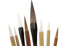 Asian calligraphy brushes Royalty Free Stock Photos
