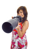 Asian with cam and huge lense. Asian girl holding a dslr cam with an 300mm tele lens attached stock image