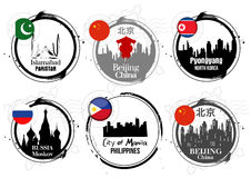 Asian capitals stamps Stock Image