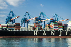 Asian Cargo Ship HANJIN Royalty Free Stock Images