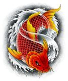 Asian carp Koi red. Red asian Koi carp swims down. Digital painting Stock Photography