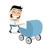 Asian cartoon man with pram Royalty Free Stock Photo