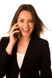 Asian caucasian business woman talking in cell phone. Isolated Stock Images