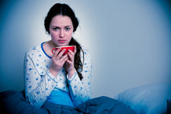 Asian caucasian woman with flu  and feaver Stock Photography
