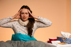 Caucasian woman having a head ache girl with pain in hea stock image