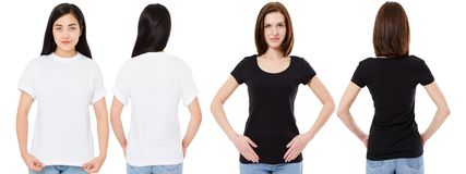 Korean and white woman in blank white and black t-shirt : front and back views, mock up, design template royalty free stock photography