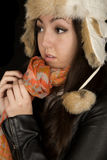 Asian Caucasian young female model wearing winter hat and scarf Royalty Free Stock Photos